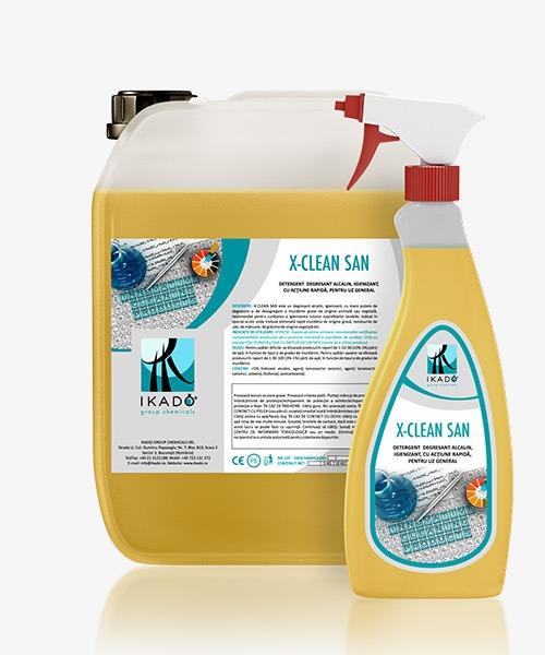 X-CLEAN-SAN DETERGENT DEGRESANT ALCALIN, IGIENIZANT, CU ACŢIUNE RAPIDĂ, PENTRU UZ GENERAL